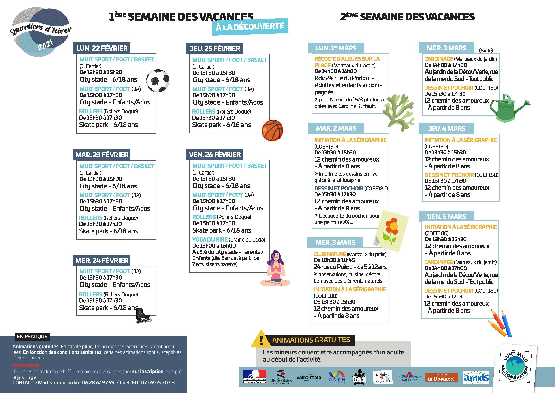 Programme plan été 2020 St Malo
